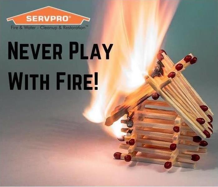 Never play with fire (as matches light on fire in image)