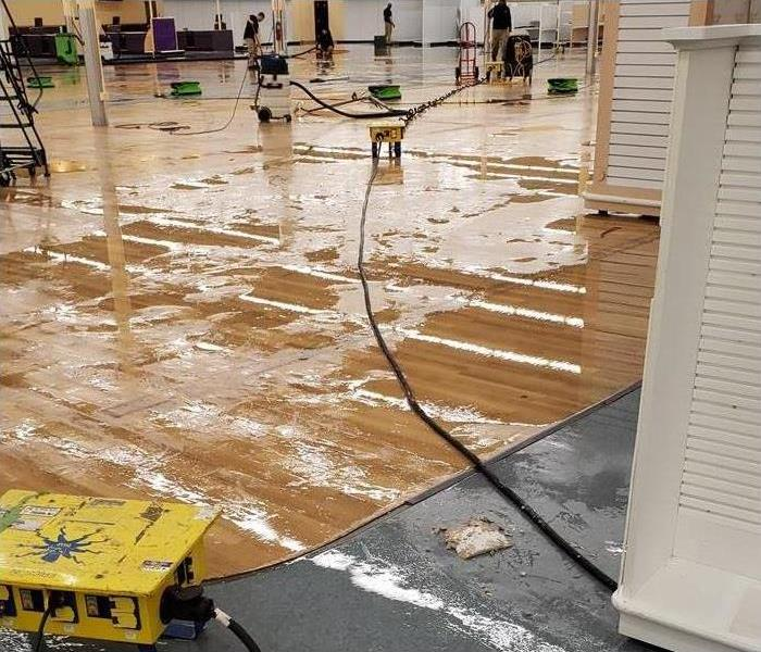 Water damaged office with employees and machines attempting to dry.